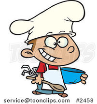 Cartoon Happy Chef Boy Holding a Mixing Bowl by Ron Leishman