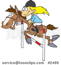 Cartoon Girl on a Leaping Horse by Ron Leishman