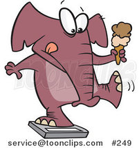 Cartoon Chubby Elephant Holding an Ice Cream Cone and Standing on a Scale by Ron Leishman
