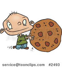 Cartoon Toddler Rolling a Large Chocolate Chip Cookie by Ron Leishman