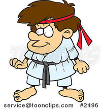 Cartoon Karate Boy by Ron Leishman