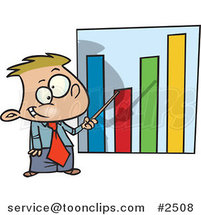 Cartoon Businessboy Pointing to a Bar Graph by Ron Leishman