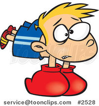 Cartoon Boy Wearing Heavy Boxing Gloves by Ron Leishman