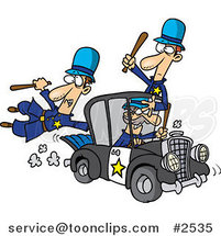 Cartoon Thief Stealing a Police Car by Ron Leishman