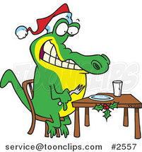 Cartoon Christmas Gator Anticipating Dinner by Ron Leishman