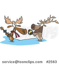 Cartoon Moose and Elk Jamming in the Snow by Ron Leishman