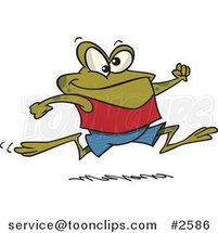 Cartoon Jogging Frog by Ron Leishman