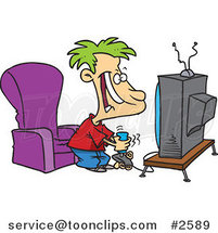 Cartoon Boy Playing a Video Game with a Joystick by Ron Leishman