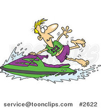 Cartoon Guy Hanging onto a Jetski by Ron Leishman