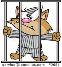 Cartoon Prisoner Cat by Ron Leishman