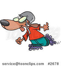 Cartoon Dog Roller Blading by Ron Leishman