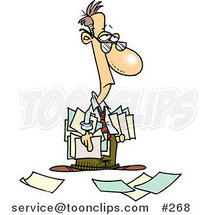 Depressed Cartoon Business Man Carrying and Dropping Documents by Ron Leishman