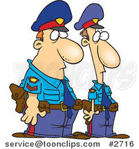Royalty-Free (RF) Clip Art Illustration of Cartoon Two Police Officers by Ron Leishman