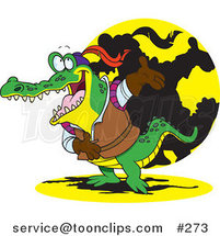 Cartoon Actor Crocodile Bowing by Ron Leishman