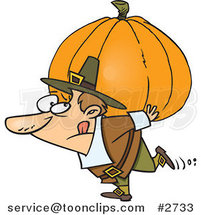 Cartoon Pilgrim Carrying a Heavy Pumpkin by Toonaday