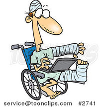 Cartoon Injured Guy Using a Laptop in a Wheelchair by Toonaday