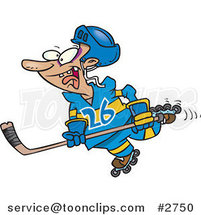 Cartoon Hockey Player Skating by Ron Leishman