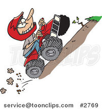 Cartoon Boy Riding an ATV Uphill by Ron Leishman