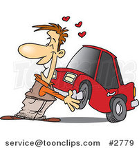 Cartoon Guy Cuddling with His Car by Ron Leishman