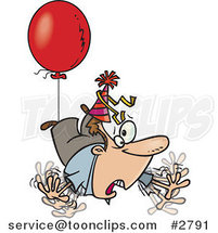Cartoon Awry Guy Floating Away with a Party Balloon by Ron Leishman