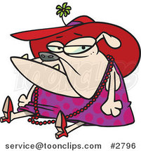 Cartoon Grumpy Bulldog Dressed in Lady Clothes by Ron Leishman