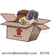 Cartoon Boy Wearing Goggles and Pretending to Fly in a Box by Ron Leishman