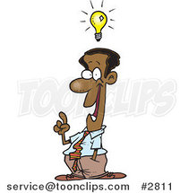 Cartoon Black Business Man with a Creative Idea by Ron Leishman