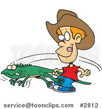 Cartoon Boy Catching an Iguana by Ron Leishman