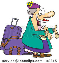 Cartoon Happy Auntie Greeting by Her Luggage by Toonaday