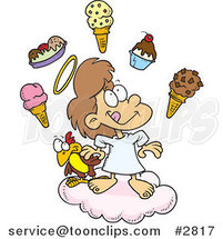 Cartoon Girl in Heaven with Ice Cream by Ron Leishman