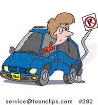 Cartoon Lady Backing Her Minivan into a Pole by Ron Leishman