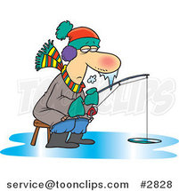 Cartoon Frozen Guy Ice Fishing by Ron Leishman