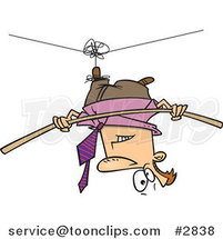 Cartoon Business Man Suspended Upside down from a Tight Rope by Ron Leishman