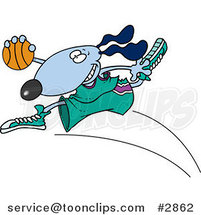 Cartoon Basketball Dog by Ron Leishman