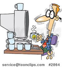Cartoon Jittery Business Man Drinking Another Cup of Coffee at a Computer by Ron Leishman