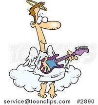 Cartoon Angel Guy Playing a Guitar by Ron Leishman