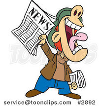Cartoon News Boy Yelling an Announcement by Ron Leishman