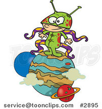 Cartoon Boy Alien on a Planet by Ron Leishman