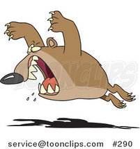 Cartoon Aggressive Bear Leaping by Ron Leishman