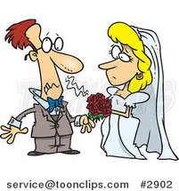 Cartoon Groom Allergic to His Bride's Bouquet by Toonaday