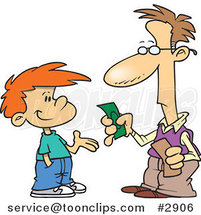 Cartoon Father Paying His Son Allowance by Toonaday