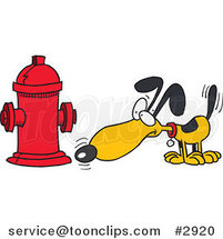 Cartoon Dog Anticipating Relieving Himself on a Hydrant by Ron Leishman