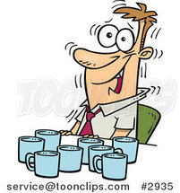 Cartoon Jittery Business Man with Coffee Cups at a Table by Ron Leishman