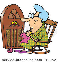 Cartoon Granny Knitting by a Radio by Toonaday