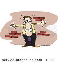 Cartoon Anxious Business Man up Against a Wall by Ron Leishman