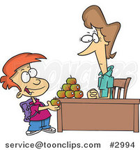 Cartoon School Boy Adding to the Pyramid of Apples on His Teacher's Desk by Ron Leishman