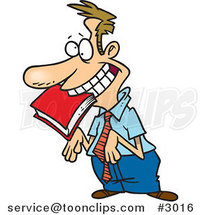 Cartoon Approval Seeking Employee with a Book in His Mouth by Ron Leishman