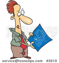 Cartoon Business Man Examining Blueprints by Ron Leishman