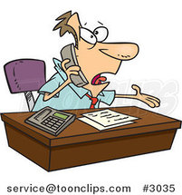 Cartoon Business Man Calling Customer Service by Ron Leishman