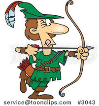 Cartoon Robin Hood Aiming by Ron Leishman